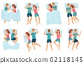 Couple sleeps in different poses. Man and woman sleeping together, couple in bed and healthy night sleep vector set 62118145