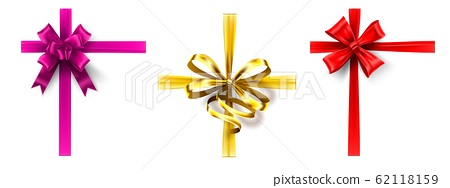 Realistic gift bow. Cross ribbon with bow, decorating gift box ribbons. Pink, gold and red bows vector set 62118159