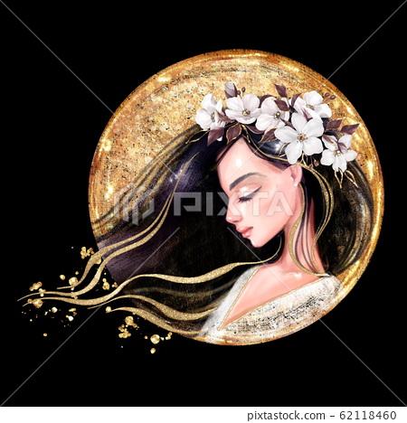 Beautiful young woman in flower wreath. on black backgroud 62118460