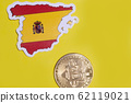 Spain Flag with Bitcoin flat lay for illustration. Cryptocurrency btc law concept 62119021