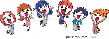 Illustration material: woman suit OL set jump cute 62120596