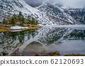 beautiful snow-capped mountains reflected in a mountain lake Morsko oko in the Tatra mountains, Poland 62120693