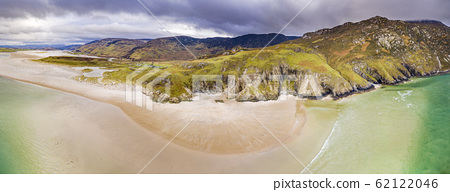 Aerial view of the beach and caves at Maghera Beach near Ardara, County Donegal - Ireland 62122046