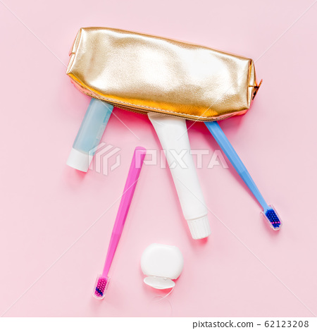 Teeth hygiene and oral care products flatlay 62123208