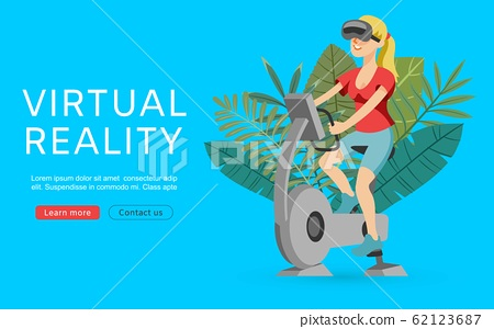 Virtual augmented reality vector illustration. Sport girl with vr glasses exercising on gym apparatus, workout and bicycle. Virtual reality web banner. 62123687