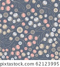 Abstract seamless pattern with buttons and leaves. 62123995