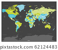 World map. High detailed political map of World with country, capital, ocean and sea names labeling. Colorful map on dark background 62124483
