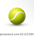 Vector tennis ball isolated on white. Green realistic tennis ball clipart design background closeup 62125284