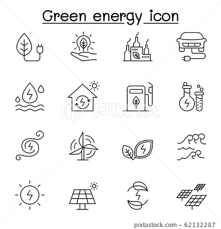 Green energy icon set in thin line style 62132287