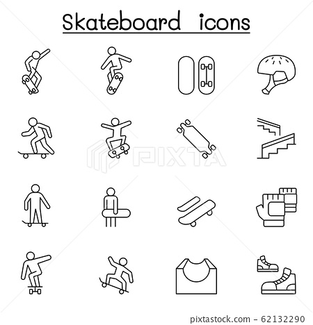 Skateboard icon set in thin line style 62132290