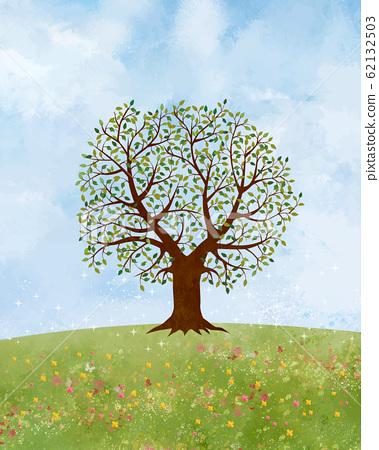 초원 : 언덕 대지 녹색 풍경 푸른 하늘 하늘 자연 배경 수채화 손으로 그린 푸른 하늘 하늘 대목 나무 나무 62132503
