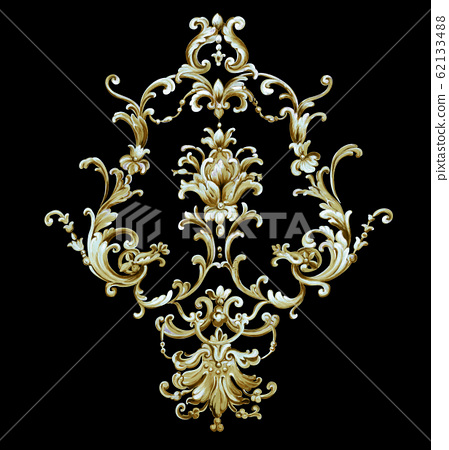 Luxurious baroque pattern material 62133488