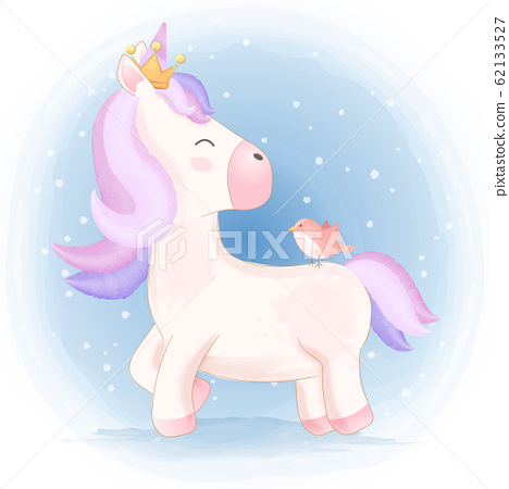 Cute unicorn and bird hand drawn animal 62133527
