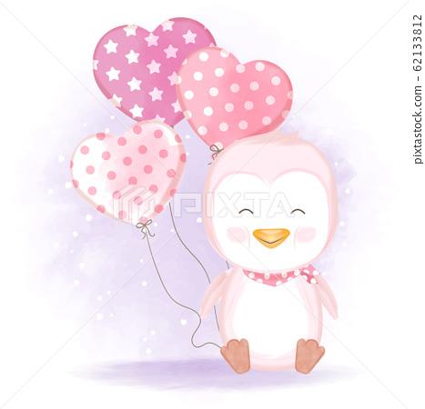 Cute penguin with balloon hand drawn cartoon illustration 62133812