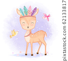 Cute deer with feathers and birds hand drawn illustration 62133817