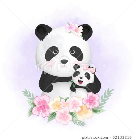 Cute baby panda and mom hand drawn cartoon animal 62133819