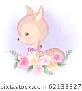 Cute deer with flower hand drawn cartoon illustration 62133827