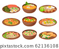 Appetizing Thai Food Served on Ceramic Plates Side View Vector Illustration 62136108