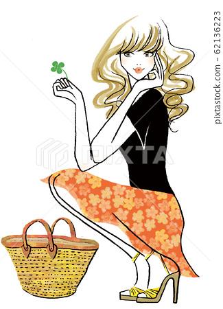 籃子袋和三葉草的女人 62136223