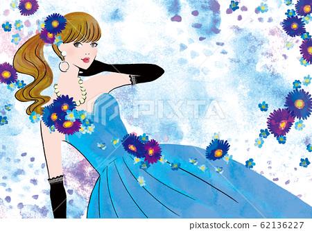 푸른 드레스를 입은 여성 62136227