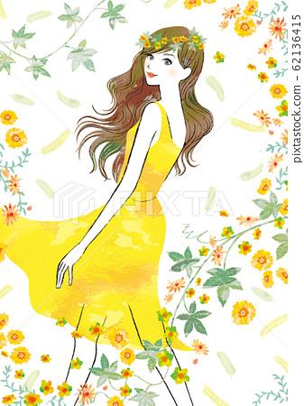노란색 봄의 요정 같은 여자 62136415