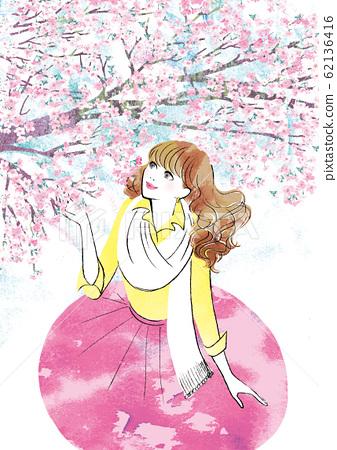 벚꽃을 바라 보는 여성 62136416