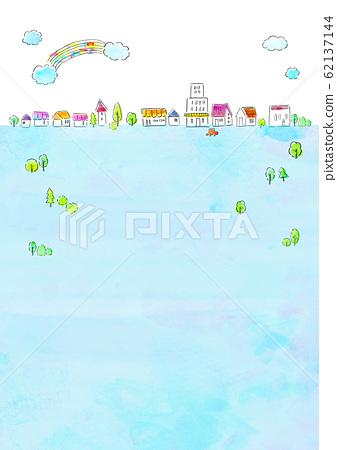 자연 풍경 주택 수채화 62137144