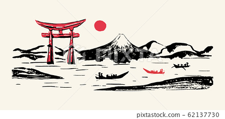 Japan panorama mountain Fuji, red gate hand drawn 62137730
