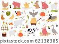 Big set of funny cute farm animals 62138385
