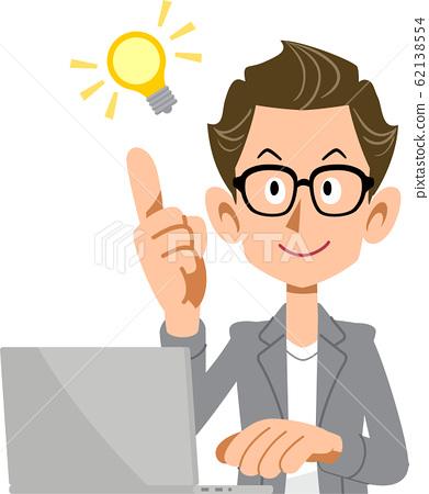 아이디어를 번쩍 크리에이터 바람의 남성과 노트북 62138554