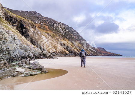 The beach and caves at Maghera Beach near Ardara, County Donegal - Ireland. 62141027