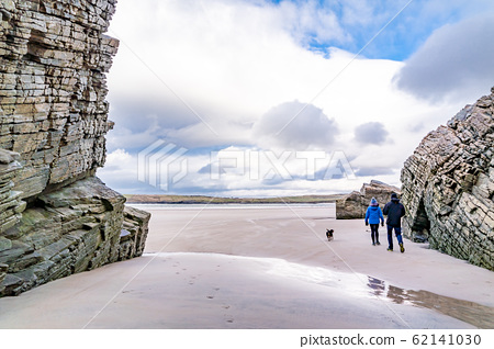 The beach and caves at Maghera Beach near Ardara, County Donegal - Ireland. 62141030