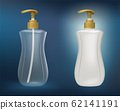 White plastic and clear plastic bottles Mock up for soap, shampoo, hair conditioner, dishwashing liquid and other liquids. 62141191