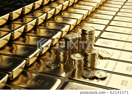 Ingots gold bars stacked aligned with some piles 62141571