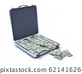 Briefcase open, full of USD banknotes. 62141626