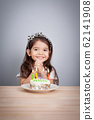 cute girl make a wish on birthday. Happy Birthday background. Greeting background for card, flyer, poster, sign, banner, web, postcard, invitation. Abstract background for text, type, quote 62141908