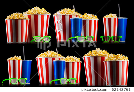Set of striped buckets with popcorn, cups of drink and glasses isolated on black 62142761