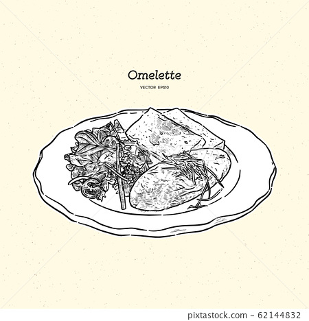 omelette with cheese , salad and toasts. 62144832