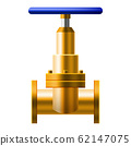 Valve ball, fittings, pipes of metal bronze, copper piping system. Valve water, oil, gas pipeline, pipes sewage. Construction and industrial pressure technology plumbing. Vector illustration realistic 62147075
