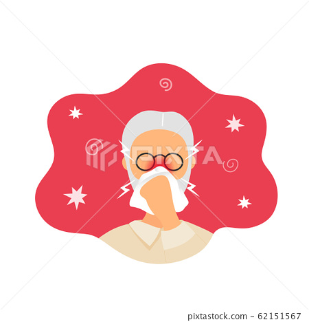 Old man with rhinitis blowing nose into napkin 62151567