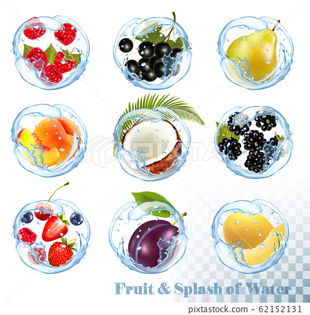 Big collection of fruit in a water splash. 62152131