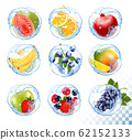 Big collection icons of fruit in a water splash. 62152133