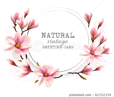 Natural greeting card with pink magnolia. Vector. 62152134