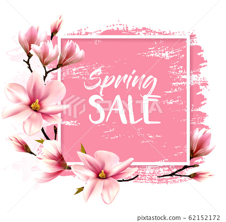 Spring sale background with pink blooming 62152172