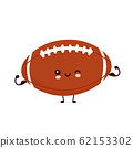 Cute happy american football rugby ball 62153302
