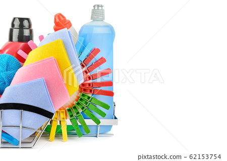 Cleaning product isolated on white background . 62153754