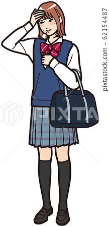 High school girl who has a fever 62154487