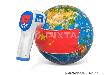 Earth Globe in a medical mask with flag of China 62154897