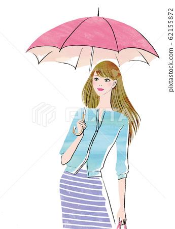 A woman holding a pink umbrella 62155872