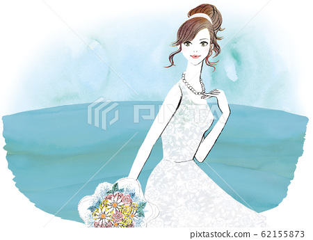 레이스 웨딩 드레스를 입은 여성 62155873